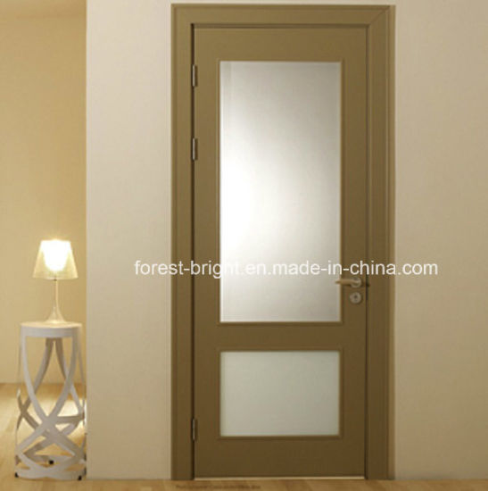 Veneer MDF Glass Insert Wood Interior Door