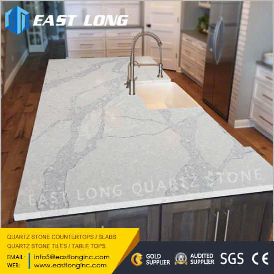Polished Engineered Artificial Quartz Countertops For Kitchen Design