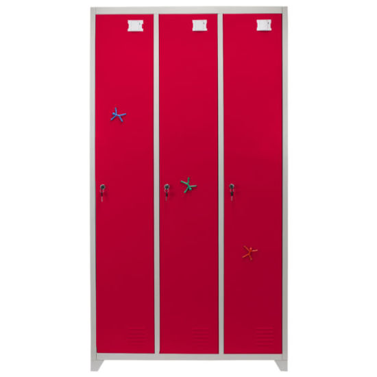 Gym Use Red Color 3 Line Door Metal Storage Locker Furniture