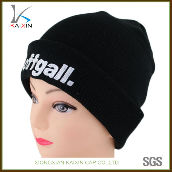 a067ad608a1 100% Acrylic Custom Knitted Cuff Beanies with 3D Logo Embroidery