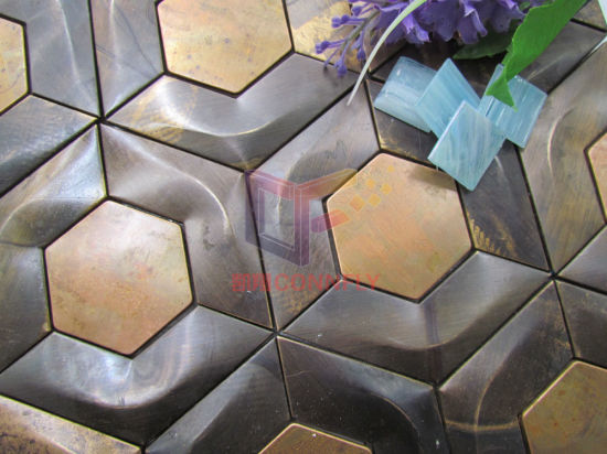 Copper Made Hexagon Shape Mosaic for Wall Decoration (CFM1025) pictures & photos
