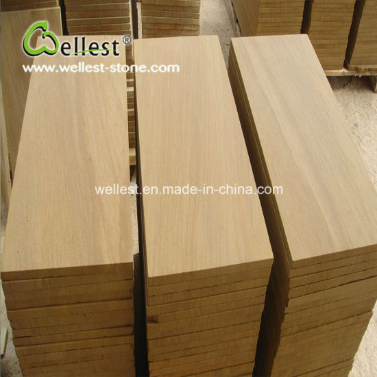 Yellow Wood Sandstone Tile for Wall and Flooring pictures & photos