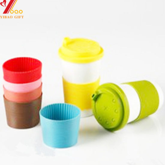 Manufacture Wholesale Custom Design LFGB Coffee Cup Set Glass Wrapper Silicone Rubber Sleeves for Coffee Cup (YB-CS-2)