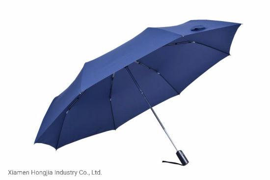 Wholesale Automatic Customized Blue 3 Folding Rain and Sun Umbrella