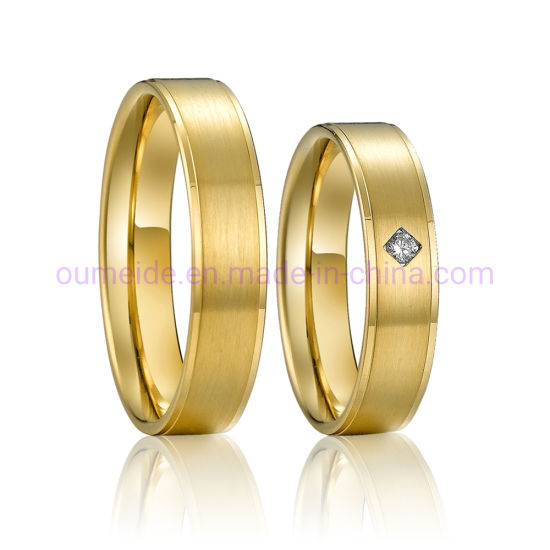 Online Sale Custom Brass Rings Gold Plated with CZ Stones Inlay