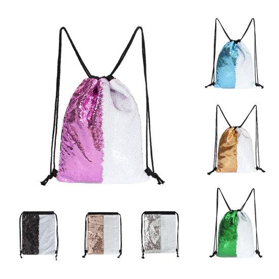New Design Polyester Sequin Backpack Wholesale Shining Drawstring Bag
