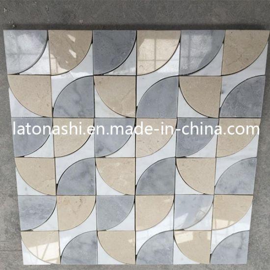 Decorative Marble Floor Tiles Mixed Color Mosaic Waterjet Medallion Tile