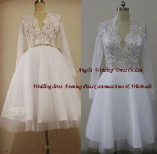 Free Shipping Drop Shipping Celebrity Graduation Evening Dress Long Sleeve Knee-Length Ball Gown White Custome