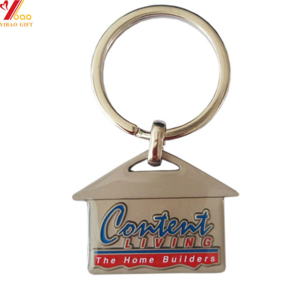 Creative Zinc Alloy Paint House Shape Metal Keychain for Promitional Gift