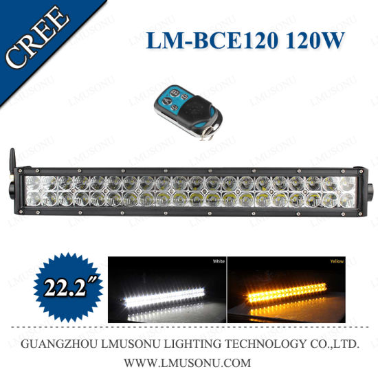 CREE Straight LED Light Bar Remote Control White Yellow Color
