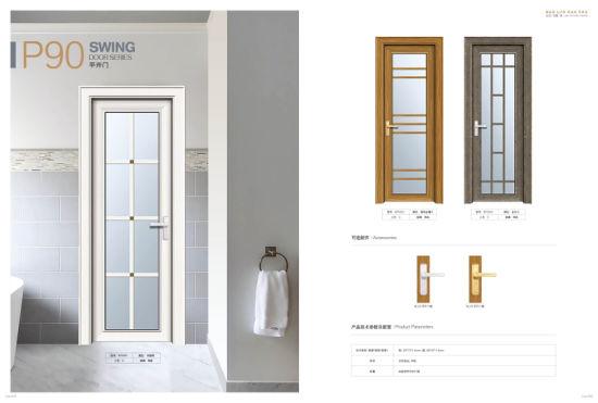 Construction Decoration Heat Insulation Foshan Aluminum Casement Door for Toilet Interior