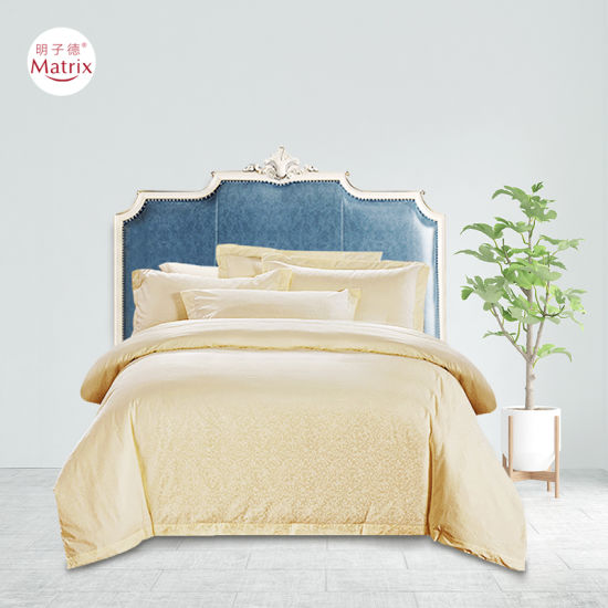 Wholesale Home Hotel 4PCS Ginger 100% Pure Cotton High Density Silk Touching Jacquard Bed Sheet Pillow Quilt Comforter Duvet Cover Bedroom Bed Bedding Set