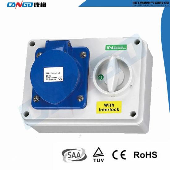 Interlocked Switched Socket 16A 32A 2P+E 3 Pin Single Phase 240v IP44 Wall Mount