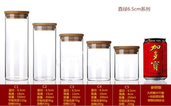 Customized Size High Borosilicate Kitchenware Glass Storage Bottle with Wood Lids pictures & photos