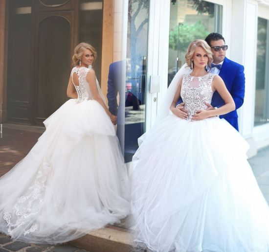 Bridal Ball Gown Lace Tulle Crystal Stones Sheer Bodice Wedding Dresses Z203