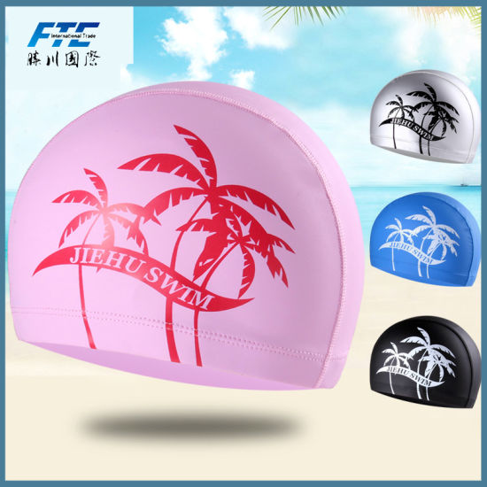 Adults Children Kids Elastic Fabric Ears Protection Sports Swim Cap pictures & photos