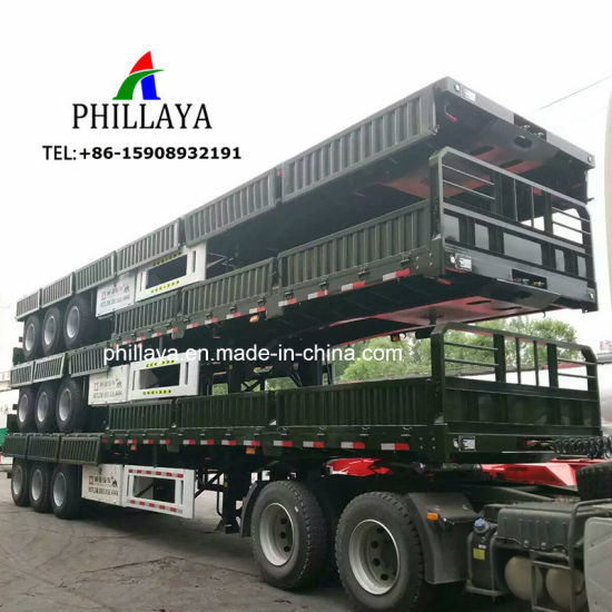Cargo Container Transport 3 Axle Flatbed Movable Side Wall Semi Trailer pictures & photos