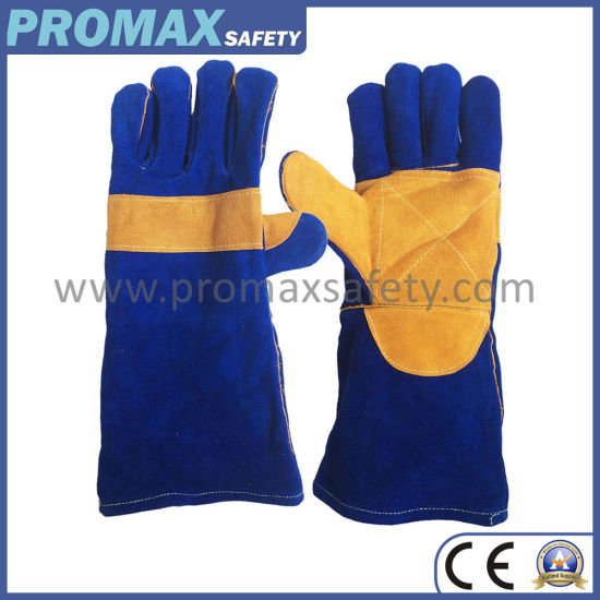 Double Palm Blue Cow Split Welding Leather Safety Work Gloves
