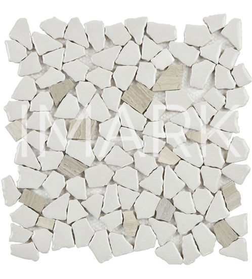 Wood Grey Marble Mix Ceramic Mosaic Tile for Bathroom Floor