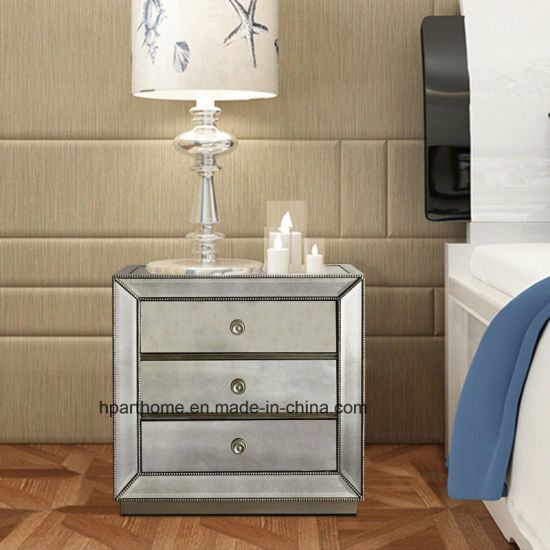 Elegant Plane Home Mirrored And Wood Side Table And Nightstand