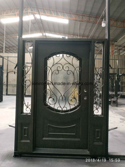 Modern Style Wrought Iron Security Entry Door With Sidelights