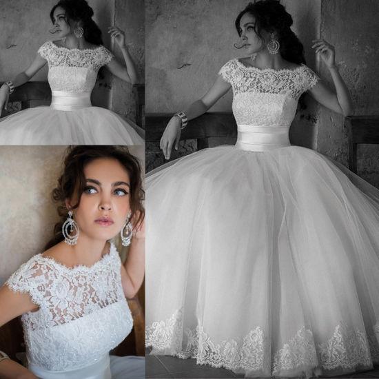 Crew Bridal Ball Gowns Cap Sleeve Lace Princess Wedding Dresses Z8007