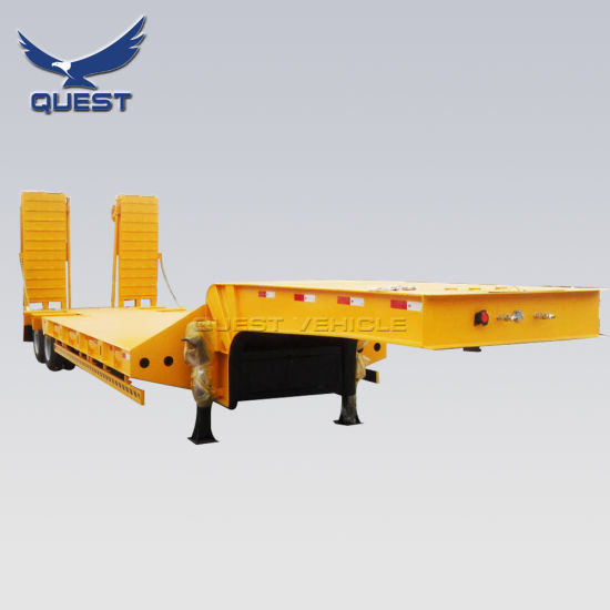 2 Axles 40 Tons Folding Hydraulic Ramp Lowboy Trailer Excavator Transport Low Bed Semi Truck Trailer pictures & photos