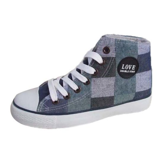 Hot Wholesale High Cut Blue Printed Canvas Shoes for Mens/Womens pictures & photos