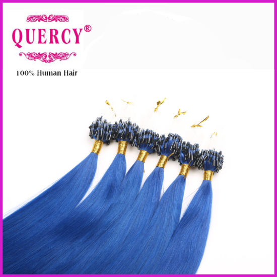Quercy Hair Blue Color Wholesale Top Quality Natural Human Remy Micro Loop Ring Hair (KH-004) pictures & photos