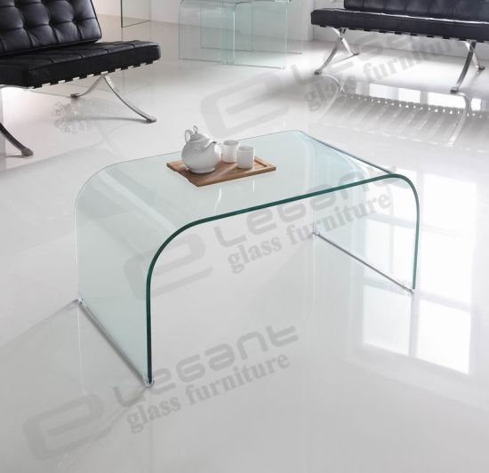 Glass Coffee Table with Curved Legs pictures & photos