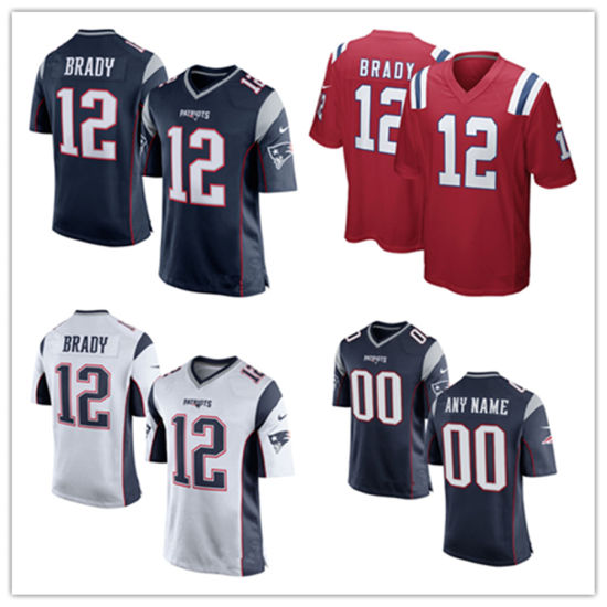 Custom Customized Patriots Jerseys 12 Tom Brady Football Jerseys pictures & photos