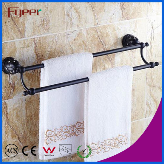 Fyeer Black Series Bathroom Accessory Brass Double Towel Bars