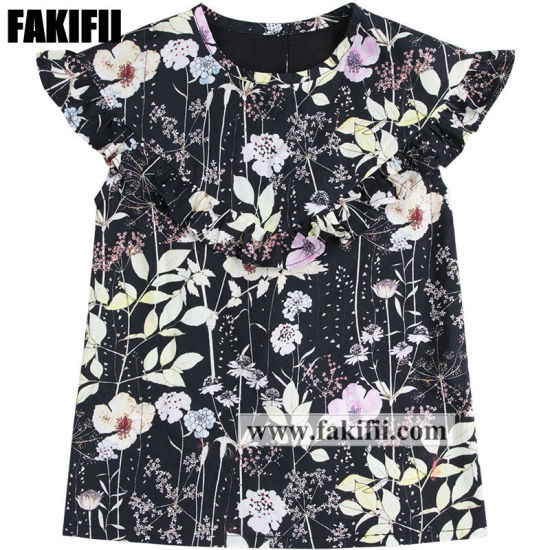 Spring/Summer Wear Children Clothing Girl Black Flora Blouse Kids Cotton Shirt