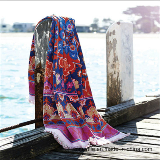 Competitive Price Jacquard Velour Beach Blanket Beach Towel pictures & photos