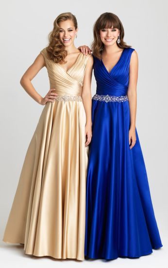 Satin Evening Dresses Blue Gold Party Prom Celebrity Gowns Z508