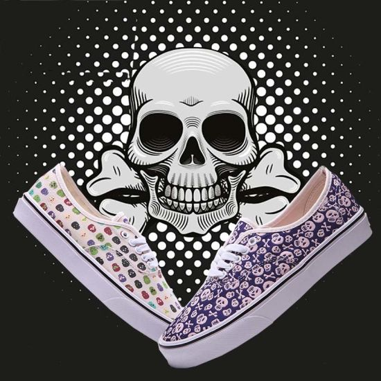Hip Pop Style Purple Printed Sneakers White Lace Plimsolls Shoes pictures & photos