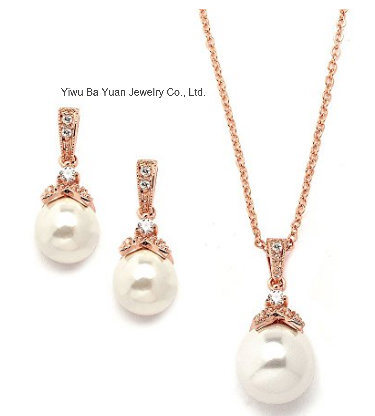 Best Seller Cream Pearl Drop Wedding CZ Necklace Jewelry Set, Bridal CZ Jewelry Set, Bridesmaid Jewelry Set, Fashion Necklace Jewelry Set pictures & photos