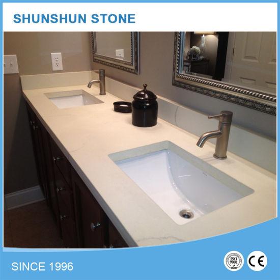 Por Artificial Stone White Quartz Bathroom Workbench For Top Pictures Photos