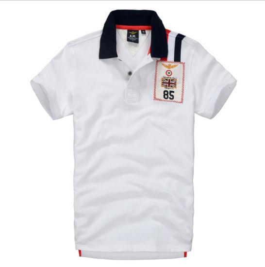 Custom Patch Logo Men's Cotton Short Sleeve Golf Polo Shirt