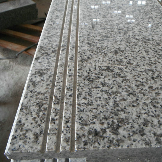 Light Grey Granite Stairs And Risers With Anti Slip Line