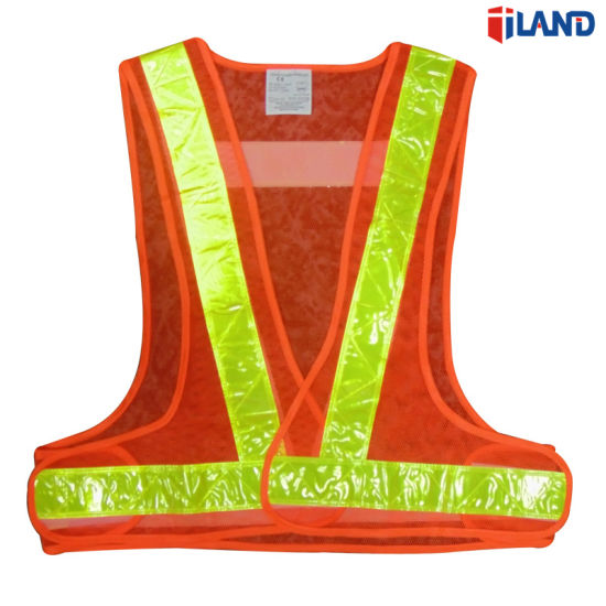High Visibility Fluorescent Mesh Fabric PVC Reflective Tape Safety Vest