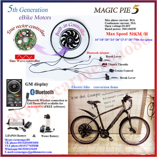 Bluetooth Programmable! 24V /36V/48V Bike Motor Kit/Electric Bicycle Brushless Hub Motor Wheel