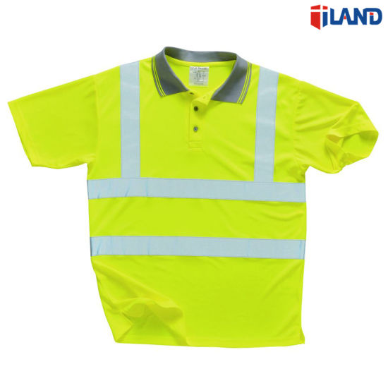 Short Sleeve Hi-Visibility Fluorescent Reflective Tape Safety Polo T Shirt