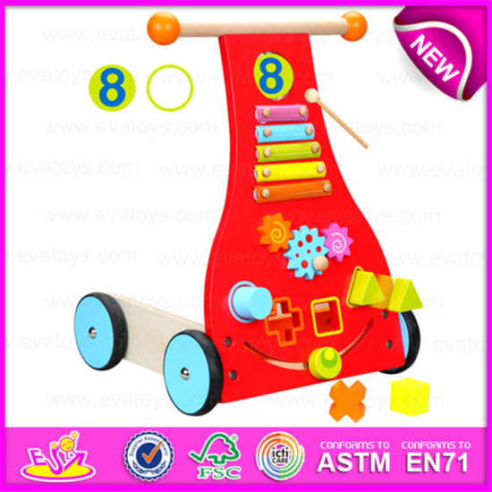 China Baby Wooden Walker Wagon Or Trolley Toy For Toddler Wooden