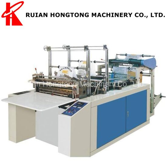 1-Layer 1-Line Wide Hot Bottom Heat Sealing and Cold Cutting HDPE LDPE PE Plastic Bag Making Machine Price in China for Large Hanger Bag Clothes Dust Cover etc.