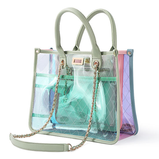 Custom See Though Plastic Vinyl Clear Transparent Hand Tote Bags PVC Handbag for Women pictures & photos