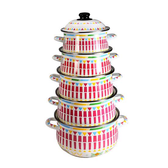 5PCS Factory Wholesales Cookware FDA Enamelware Cooking Pot Enamel Casserole Pot Set
