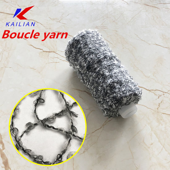 Fancy Yarn Black White Color Blended 57%Polyester 43 %Acrylic Big Loop Yarn Knitting for Women