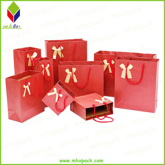 Custom Any Size Jewelry Packaging Paper Gift Bag with Ribbon