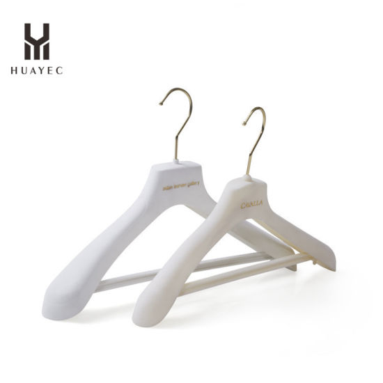 Plastic Custom White Suit Hanger for Woman with Clip
